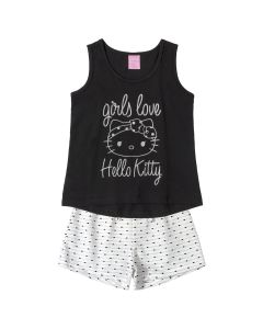 CONJUNTO CURTO HELLO KITTY + SHORT LISTRAS