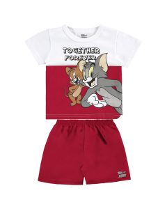 Conjunto Bebê Curto Tom E Jerry Together E Bermuda  - 0 a 12 meses