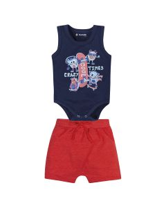 CONJUNTO BODY MONSTROS COM SHORT LISO