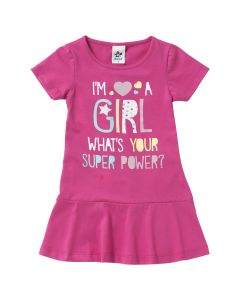 Vestido Infantil Girl Super Power com Glitter - 01 a 03 anos