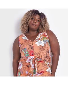 Regata Feminina Estampa Floral Plus Size